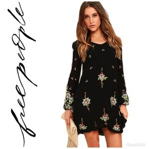 Free People Oxford Black Embroidered Swing Dress